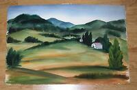 AMERICANA VINTAGE YORK COUNTY HILLS PENNSYLVANIA LANDSCAPE HOUSE W/C PAINTING