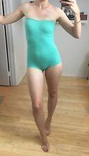 American Apparel Cotton Stretch Light Green Strapless One Piece Bodysuit sz S