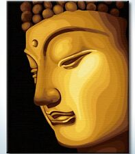 Golden Buddha paint by number kit  50cm x 40cm pre print canvas with wood framed
