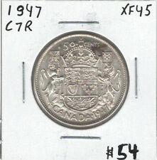 Canada 1947 Silver 50 Cents Curved 7 Right EF45
