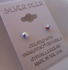 HYPOALLERGENIC Surgical Steel Swarovski Elements Crystal  Small in AB color 4 mm