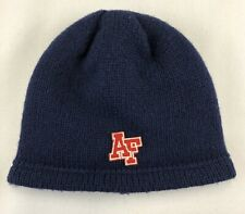 ABERCROMBIE & FITCH 100% Wool Beanie Cap  Hat Navy & Red AF Logo Poly Lining