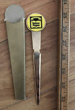 Vintage Yellow Pages Telephone Advertising Letter Opener Gold-tone