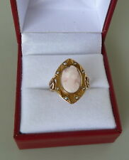 ANTIQUE 10K YELLOW GOLD CAMEO AND SEED PEARL RING