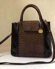 Brahmin Pecan Brown Croc Embossed/ Black Leather Satchel Handbag