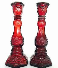 """Pair of Avon Ruby Red Cape Cod 8.5"""" Taper Candle Holders - Mint"""