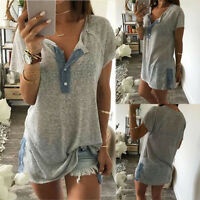 Fashion Women Summer Loose Short sleeve  Casual Button Blouse Tank Tops T Shirt