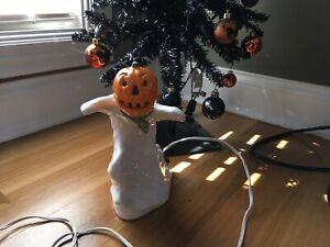 Vintage Halloween Handmade Ceramic Ghost Pumpkin Light Up