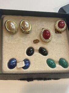 Vintage KJL Kenneth Jay Lane Interchangeable Rhinestone Clip On Earrings Set