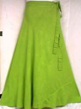 Women Wrap around Long Skirt Rayon Traditional Boho Wrap Dress Free Size L Green