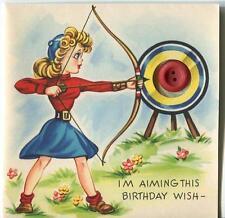 VINTAGE BLONDE GIRL CROSSBOW ARCHERY BULLEYE TARGET ARROW BDAY ART GREETING CARD