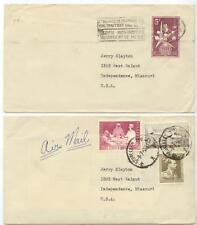 lot of two 1958 Belgium covers to Missouri