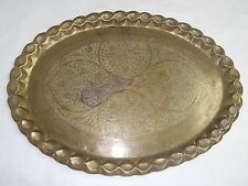 DECORATIVE HAND MADE ANTIQUE PERSIAN BRASS TRAY TABLE TOP