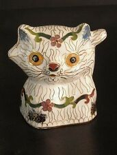 Rare 1970s Cloisonne Enamel Cat - Chinese Vintage Collectible Figurine
