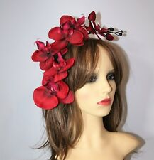 Large Bright Red Orchid Flower  on Headband - Fascinator - Wedding, Races, Party