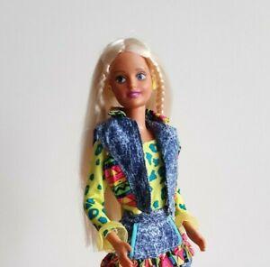 Vintage Sindy Doll Dressed wearing Barbie Outfit Denim Vest + Skirt Hasbro 1994
