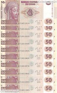 Congo Dem. Rep. 10x 50 Francs 2013 Unc Pn 97Aa