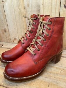 Excellent Frye Women's Sabrina 6G Lace-Up Leather USA Boots Brown, US 10 M