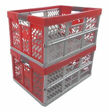 2 x Pro - Foldable box TUV certified 45 L bis 50 kg silver / red Folding Crate