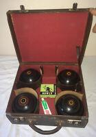 Henselite Lawn Bowls X4 Size 5 Super-Grip + Fraser & Clinch Rawhide Bag Vintage
