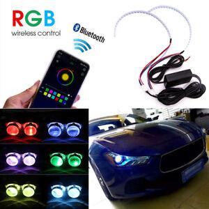 2PCS RGB Demon Eye Halo Ring LED Light Strips Kit BT For Headlight Projectors