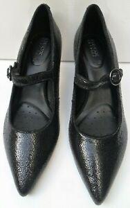 Womens Geox Respira Black Italian Patent Leather Shoes - Size UK 4.5 EUR 37.5