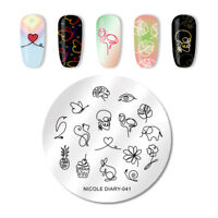 NICOLE DIARY Nail Stamping Plates Animal Flower Cake Nail Art  Tool 041
