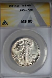1934  .50   ANACS  MS 65  Walking Liberty, Half Dollar, Lady Liberty Half, 0.50