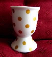 1 Porzellan - Eierbecher / weiß mit goldigen Punkten