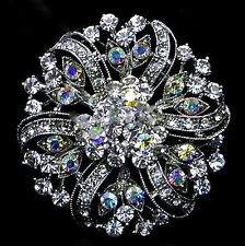 Sparkly Victorian Style Silver Plated AB Crystal Flower Party Brooch Pin