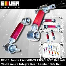 88-00 Civic 88-91 CRX 93-97 Del Sol 90-01 Integra  Rear Camber kits 2PCS RED Adj