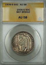 1936-S Bay Bridge Commemorative Silver Half 50c ANACS AU-58 (Better Coin) Toned