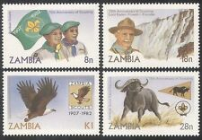 Zambia 1982 Scouts/Scouting/Baden-Powell/Waterfall/Eagle/Birds 4v set(b1949)