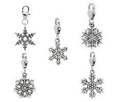 150 Christmas Snowflake Clip On Charm Fit Chain Bracelet