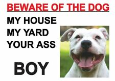 BEWARE OF THE DOG SIGN PITBULL STAFF NOVELTY FUN A3 ART PRINT POSTER YF5067