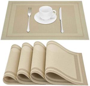 Set of 4 Heat-Resistant Woven Vinyl Placemat Non-Slip Washable PVC Table Mat NEW