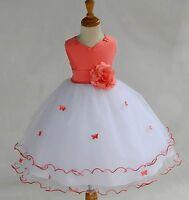 NEW WHITE TULLE WEDDING FLOWER GIRL DRESS ROSEBUD PAGEANT 12-18M 2 4 6 8 9 10 12