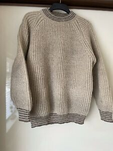 """British Wool Burgundy Jumper Size XL /50"""" Chest Ribbed Thick & Warm  Beige Vgc"""