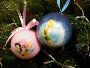 Disney Christmas Baubles Tinker Bell & Cinderella