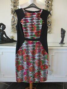 JOSEPH RIBKOFF Black Pink Green Multicoloured Wavy Ribbed Panel Stretch Dress 14