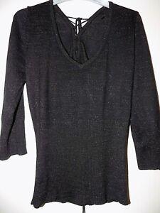 V Neck Black Sparkle Jumper 3/4 Sleeves Size 10 By Bay