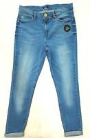 F&F BLUE CONTOUR HIGH RISE RIBBED  SUPER SKINNY JEANS  ANKLE GRAZER SIZES 6-18
