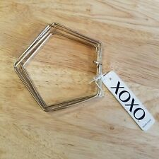By Xoxo, new with tags Nwt Four Gold Tone Pentagon Bangle Bracelets