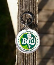 Budweiser Bud Light Beer Keychain Key Chain Green Lucky Clover St. Patrick's Day