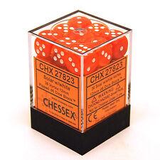 Chessex Dice (36) Block Sets 12mm D6 Vortex Solar Orange/White 36 Die CHX 27823