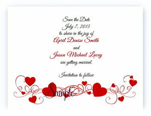 100 Personalized Custom Red Hearts Bridal Wedding Save The Date Cards
