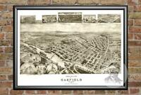Old Map of Garfield, NJ from 1909 - Vintage New Jersey Art, Historic Decor