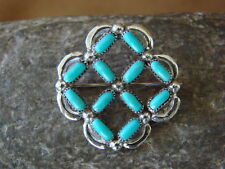 Zuni Indian Jewelry Sterling Silver Turquoise Pin/ Pendant! Kaamasee
