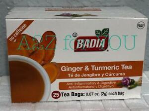 BADIA GINGER AND TURMERIC TEA. TE DE JENGIBRE Y CURCUMA 25 BAGS/BOX