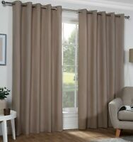 Naples Beige MINK Colour 100% Cotton Eyelet Ring Top Lined Curtains. 3 Sizes.